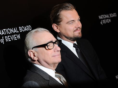 Spotlight Award winners actor Leonardo DiCaprio, right, and director Martin Scorsese attend the National Board of Review awards gala at Cipriani 42nd Street on Tuesday, Jan. 7, 2014, in New York.