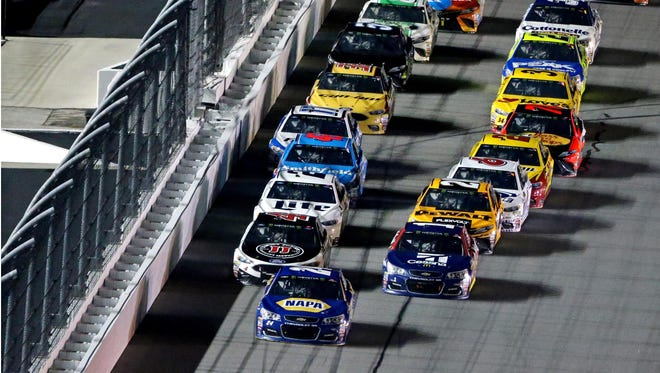 Chase Elliott, front, will start on the pole in the 59th running of the Daytona 500.