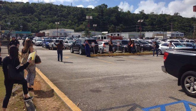 The ITC Building in Tamuning was evacuated Monday morning after a bomb threat was discovered inside one of the office's restrooms.