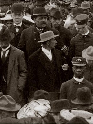 A buffalo soldier at the dedication of the Montana State Capitol in 1902.