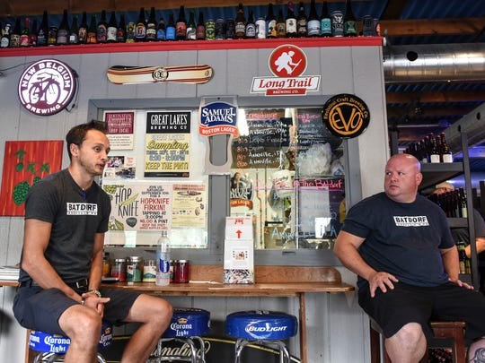 Michael Rotunda, left, one of the owners of the Batdorf Restaurant and Rotunda Brewing Company in Annville, and Eric Stubbs, head brewer for Rotunda Brewing Company, talk about the brewery on Wednesday, Aug. 31, 2016.