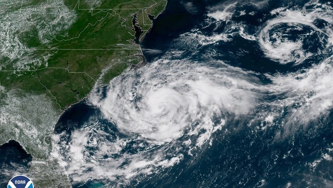 A satellite image shows Tropical Storm Chris spinning off the U.S. East Coast on Monday, July 9, 2018.