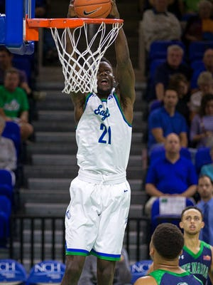 Florida Gulf Coast University forward Demetris Morant dunks against Ave Maria University in the first period at Alico Arena on Tuesday, Nov. 29, 2016, in Fort Myers.