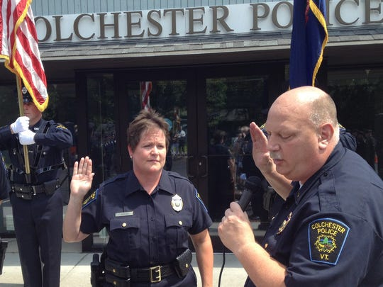 New Colchester Police Chief Jennifer Morrison is sworn in July of 2013.