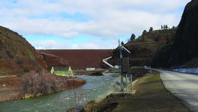 The Iron Gate dam in California is the the last one on the Klamath River operated by PacifiCorp before it runs southwest to the Pacific Ocean. It holds a fish hatchery adjacent to the dam.