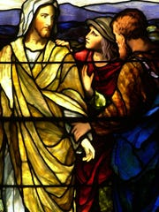 """Detail of the Freeman Memorial window, """"The Road to Emmaus"""" at Central Presbyterian Church in Haverstraw. The window is in memory of Rev. Amasa S. Freeman, founder and pastor of the church for over 50 years. The window, also called """"Abide with Us,"""" comes from the Gospel of Luke were two of the apostles encounter the risen Christ as they walk to Emmaus."""