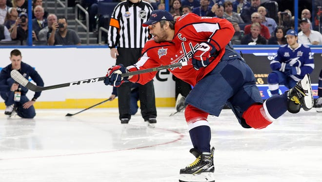 Alex Ovechkin competes in the hardest shot competition of the 2018 NHL All Star Game skills competition at Amalie Arena.