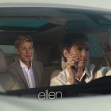 Ellen rides along with McConaughey, eating brownies and making suggestions about Cyrus the bull, while he does his True Detective-type thing.
