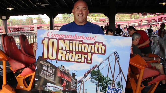 Mike Brogan, of Cincinnati, became the 10-millionth rider on Kings Island's Diamondback roller coaster on July 21, 2014.
