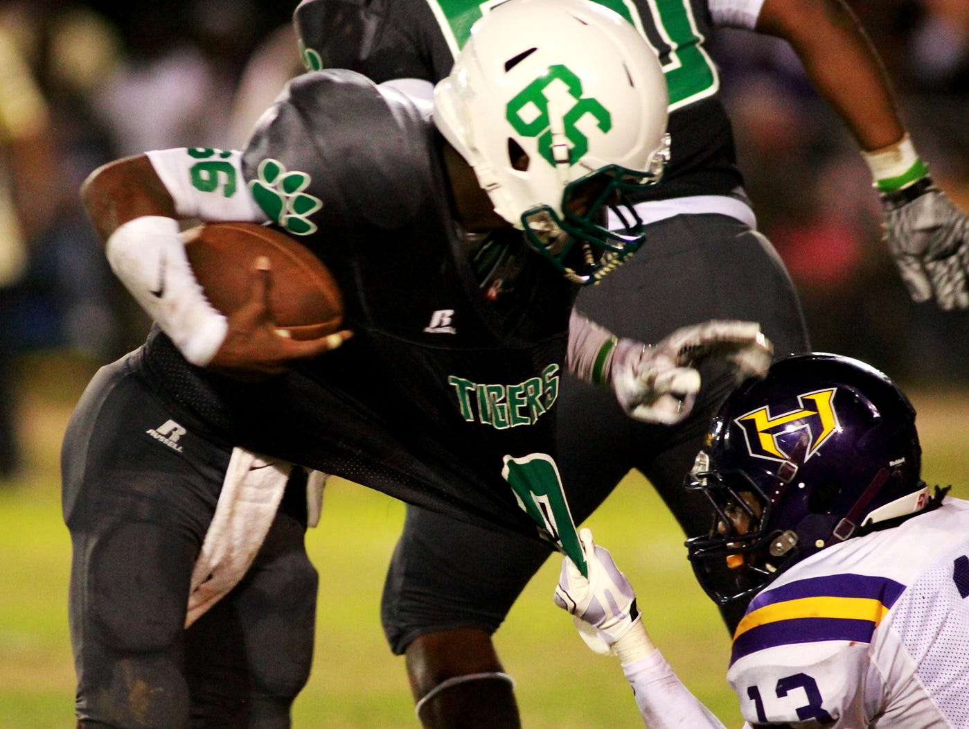 Collins quarterback Detric Hawthorn is pulled down by a Hattiesburg defender during their game earlier this season.
