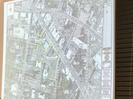 A map of the affected roads as part of the Seymour Street redevelopment is displayed at Monday's meeting.