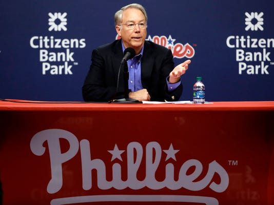 Philadelphia Phillies president Andy MacPhail speaks with members of the media during a news conference in Philadelphia, Tuesday, Oct. 3, 2017. Despite finishing last in the NL East for the third time in four years, the Phillies (66-96) have reason to be optimistic about 2018 and beyond. (AP Photo/Matt Rourke)