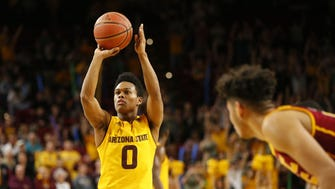 Arizona State guard Tra Holder (0) shoots the game-winning free throw against USC during the second half at Wells Fargo Arena in Tempe, Ariz. February 26, 2017.
