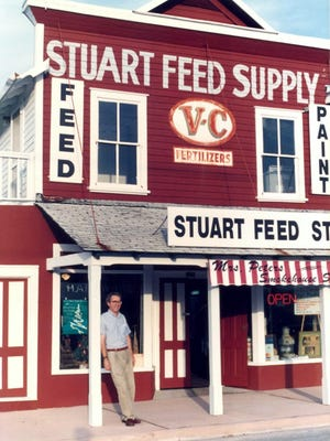 Don Armstrong, Jr., founder of Stuart Heritage, stands in front of the Stuart Heritage Museum in 1992.