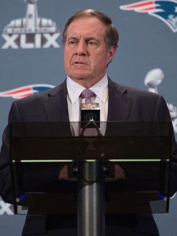 New England Patriots head coach Bill Belichick addresses