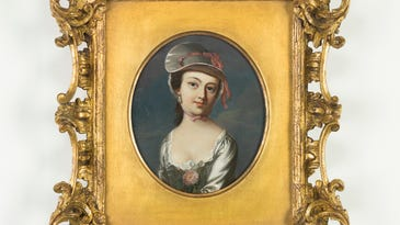 John Singleton Copley's  6-inch portrait of Mary Clarke is on long-term loan from The National Society of The Colonial Dames of America.