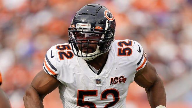 Chicago Bears outside linebacker Khalil Mack (52) runs a play against the Denver Broncos during the second half of game on Sunday, Sept. 15, 2019, in Denver.