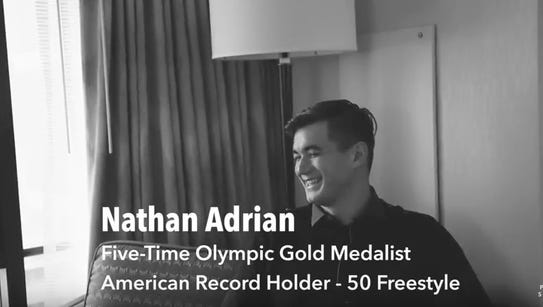 Nathan Adrian of Bremerton speaks during an online
