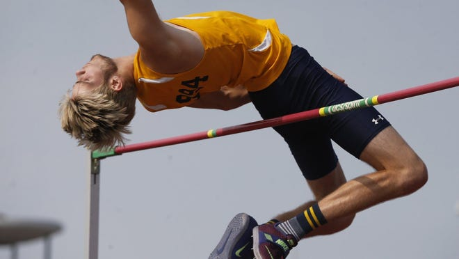 Tallmadge's Riley Murphy clears 6 feet, 4 inches in the Division II high jump event to tie for seventh place at last season's state meet.