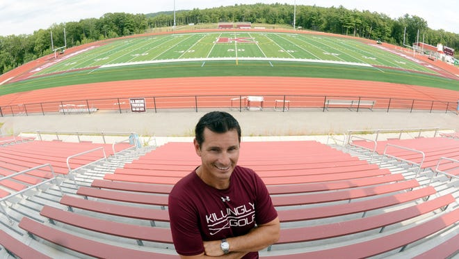 Killingly High School athletic director Kevin Marcoux had a walk through with executives from FieldTurf at the school's newly completed athletic facility on Thursday.