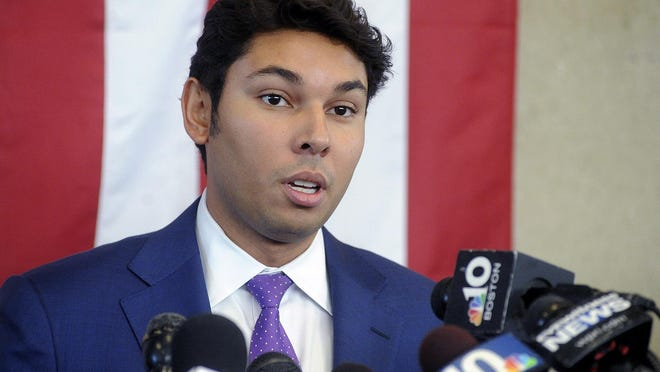 FILE - In this Oct. 16, 2018 file photo, Mayor Jasiel Correia speaks about his indictment during a news conference in Fall River, Mass. Correia was arrested on Friday, Sept. 6, 2019, and faces additional charges.