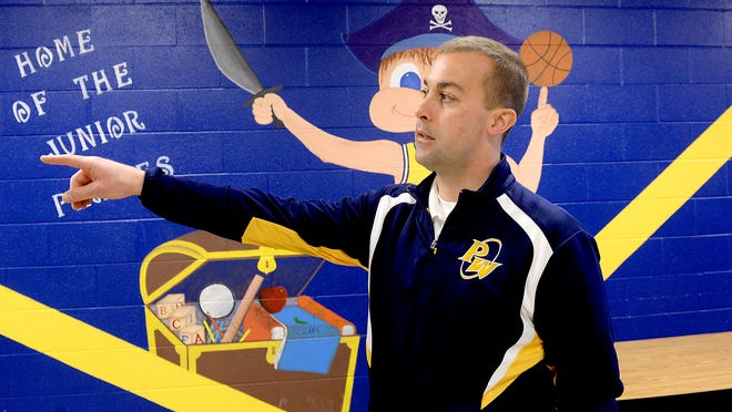 Pewamo-Westphalia superintendent Jason Mellema talks about the security features installed at the elementary school Thursday, April 2, 2015.