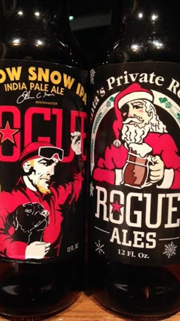 Rogue's Yellow Snow IPA and Santa's Private Reserve