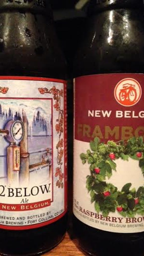 New Belgium's 2 Below and Frambozen.
