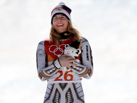 Gold medal winner Ester Ledecka of the Czech Republic