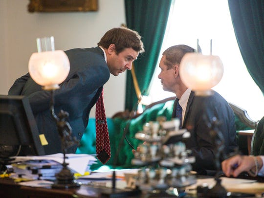 Senate President Pro Tempore Tim Ashe, D/P-Chittenden, left, confers with Secretary of the Senate John Bloomer Jr. during asspecial session of the Legislature at the Statehouse in Montpelier on Wednesday, May 23, 2018.