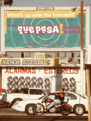 A QuePasa.com billboard at  the corner of Roosevelt and Seventh streets in Phoenix touted the website in 1999.