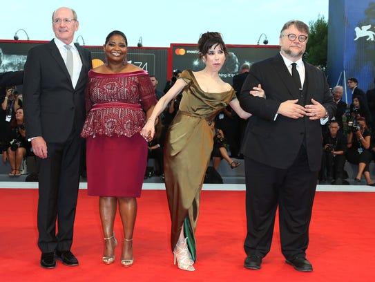 Director Guillermo Del Toro, from right, actors Sally