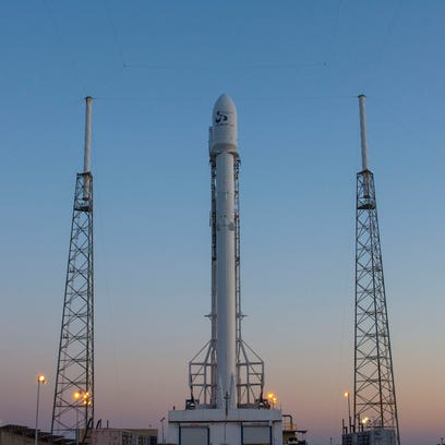 SpaceX's Falcon 9 rocket sits on the pad at Launch