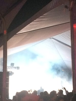 Amid the fog, Drake takes the stage at the W Scottsdale early Sunday morning.