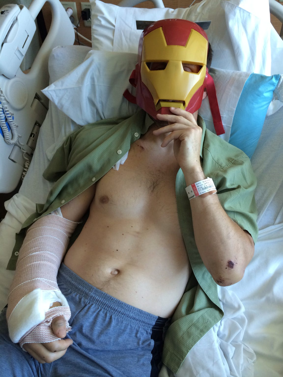 Jeff's family gave him an Iron Man mask in the days