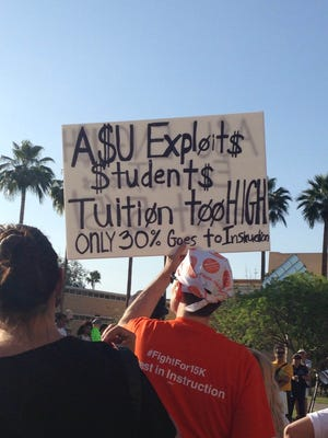 Protesters demonstrate Wednesday at the ASU campus in Tempe as part of nationwide rallies calling for an increase in the minimum wage.
