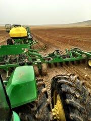 Seeding near Dutton earlier this year.