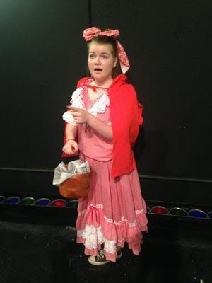 "Aspen Leith, 13, from Hortonville will play Little Red Riding Hood in the public performance of ""Into the Woods,"" a production of Kid Stage. It will open Thursday at the Jane Bergstrom Fine Arts Center on the campus of St. Mary Catholic High School."