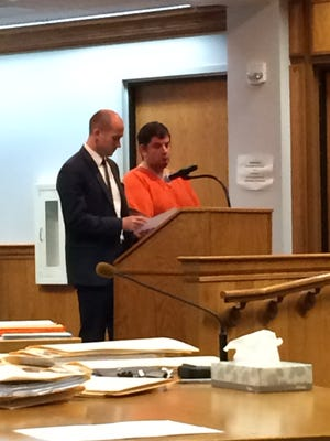Darrin Chapman makes an initial court appearance with Defense Attorney Austin Mort Monday at Marathon County Circuit Court.
