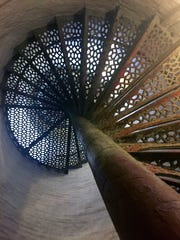 The staircase of the Fort Gratiot Lighthouse spirals