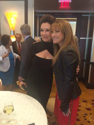 Mary McDonnell on left and Jane Seymour on right pose for photos at the Broken Glass Awards Tuesday.