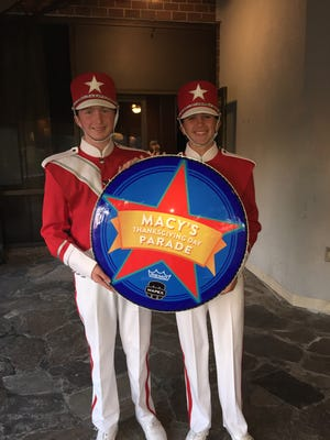 Brothers Brendan, left, and Sean Matthys were selected to be part of the Macy's Great American Marching band and march in the annual Thanksgiving Day parade.