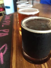 A flight at Kalispell Brewing Co. with Snowslip Stout,