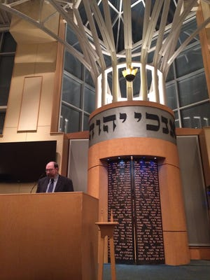 David R. Brockman, a religious studies scholar and expert on religion in public school textbooks, speaks during a Family of Abraham forum at Congregation Micah on Tuesday, Feb. 9, 2016. The forum focused on the ongoing debate in Tennessee about teaching  the history of religion.