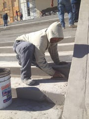 Construction worker Lino Medrano has been working on the altar since the start.