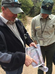 Shawn Martin, silviculturist for Cibola National Forest's Sandia District, and Meckenzie Helmandollar, former acting public affairs officer for the Cibola National Forest look at an areal image of conifer stands.