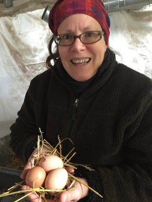 Melody Nye, 55, of Yale, Mich., farms fresh eggs that she and her husband sell weekly at Eastern Market in Detroit.