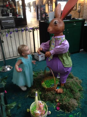 Isabella checked out the Easter bunny recently at Melbourne Square mall.