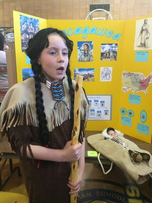 Hattie Bumgarner plays Sacagawea at a previous Living Wax Museum presented by Foothills Community Christian School.