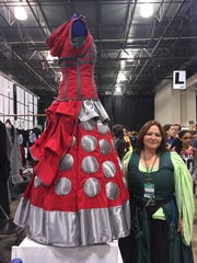 "A dress inspired by Daleks, the evil alien enemies of ""Dr. Who."" From Fairy Tales & Fantasy booth at Motor City Comic Con"